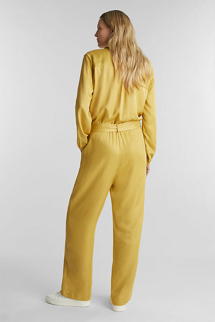 Satin jumpsuit with a lapel collar, DUSTY YELLOW, detail image number 3