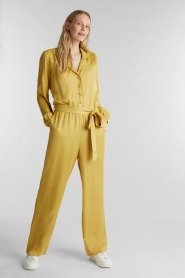 Satin jumpsuit with a lapel collar, DUSTY YELLOW, detail