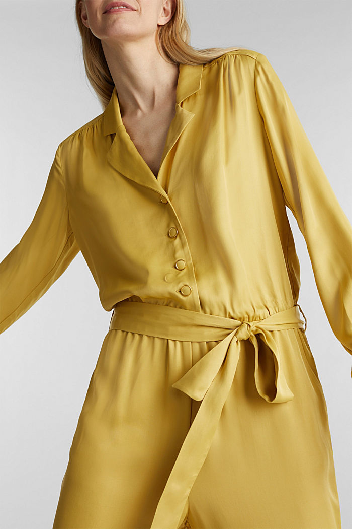 Satin jumpsuit with a lapel collar, DUSTY YELLOW, detail image number 2