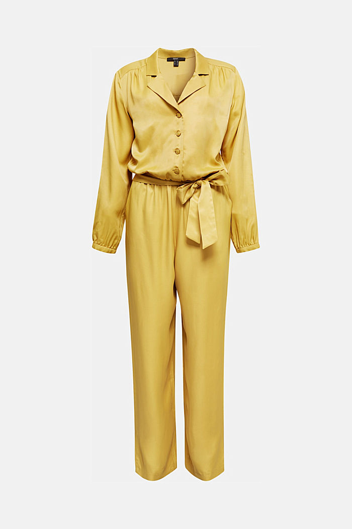 Satin jumpsuit with a lapel collar, DUSTY YELLOW, overview