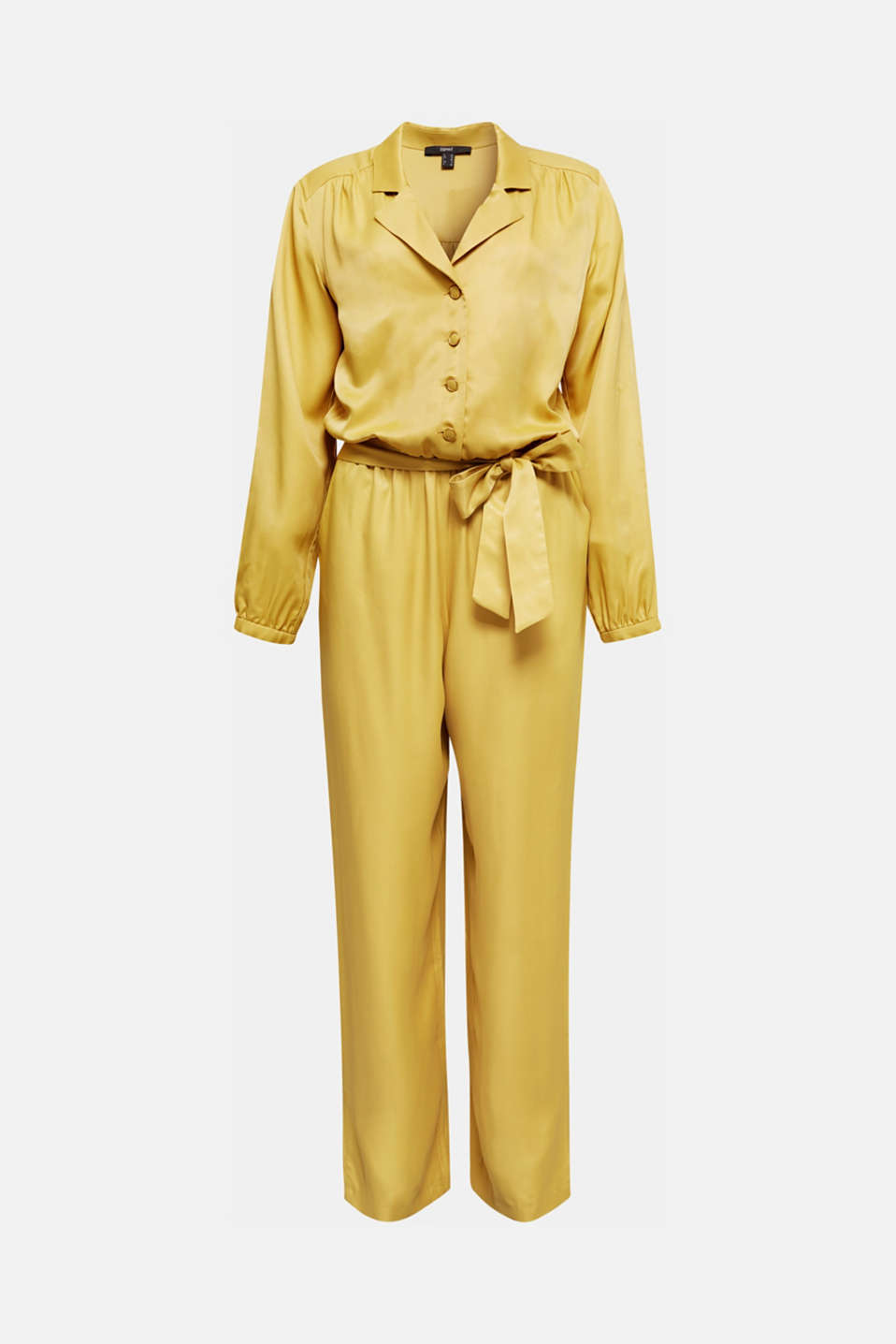 Satin jumpsuit with a lapel collar, DUSTY YELLOW, detail image number 7