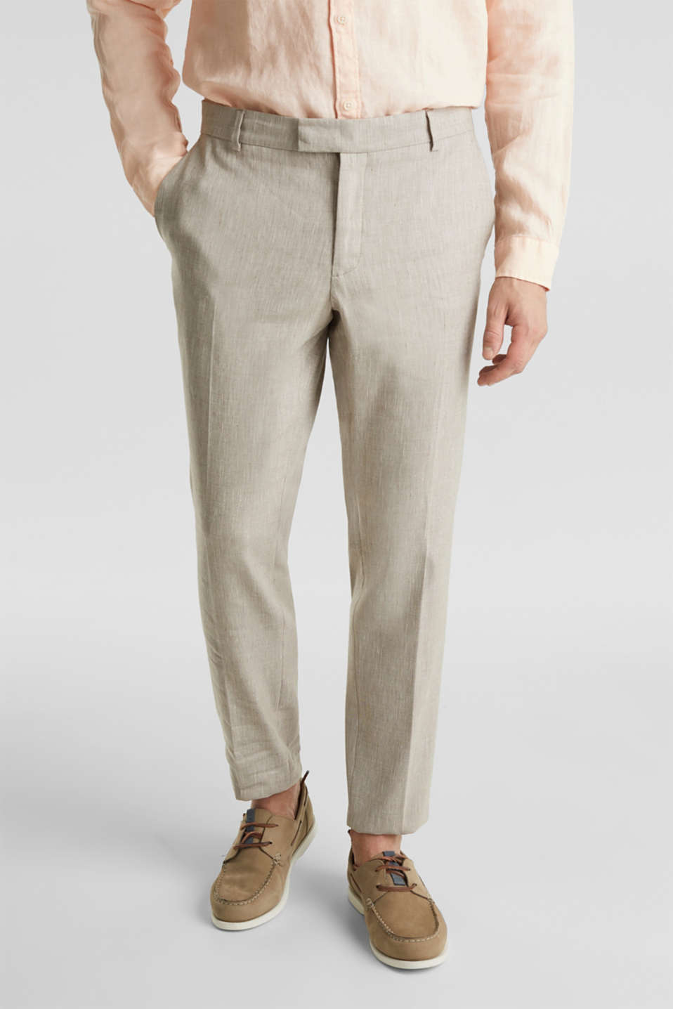 End-on-end linen blend trousers, SAND 5, detail image number 0