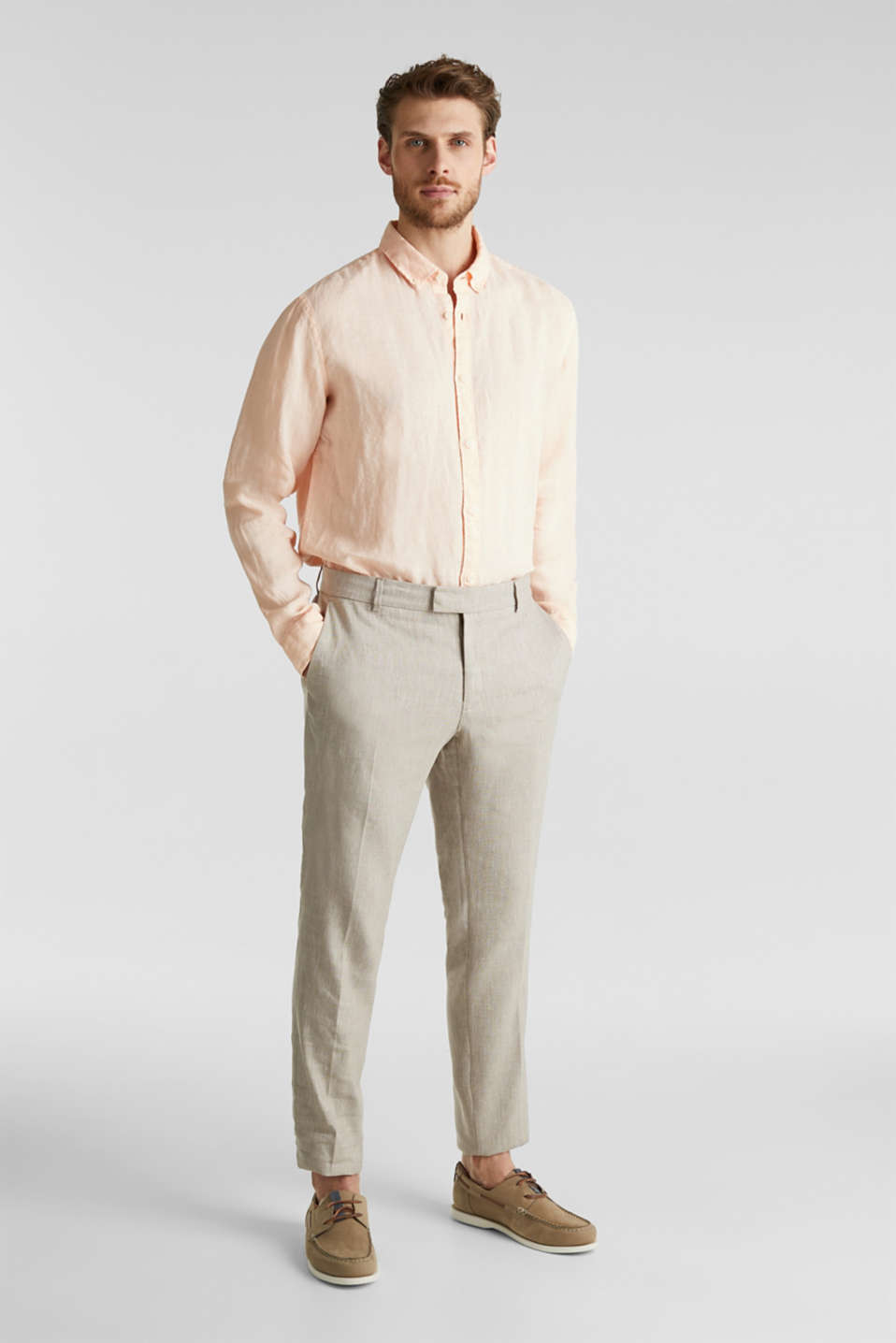 End-on-end linen blend trousers, SAND 5, detail image number 6