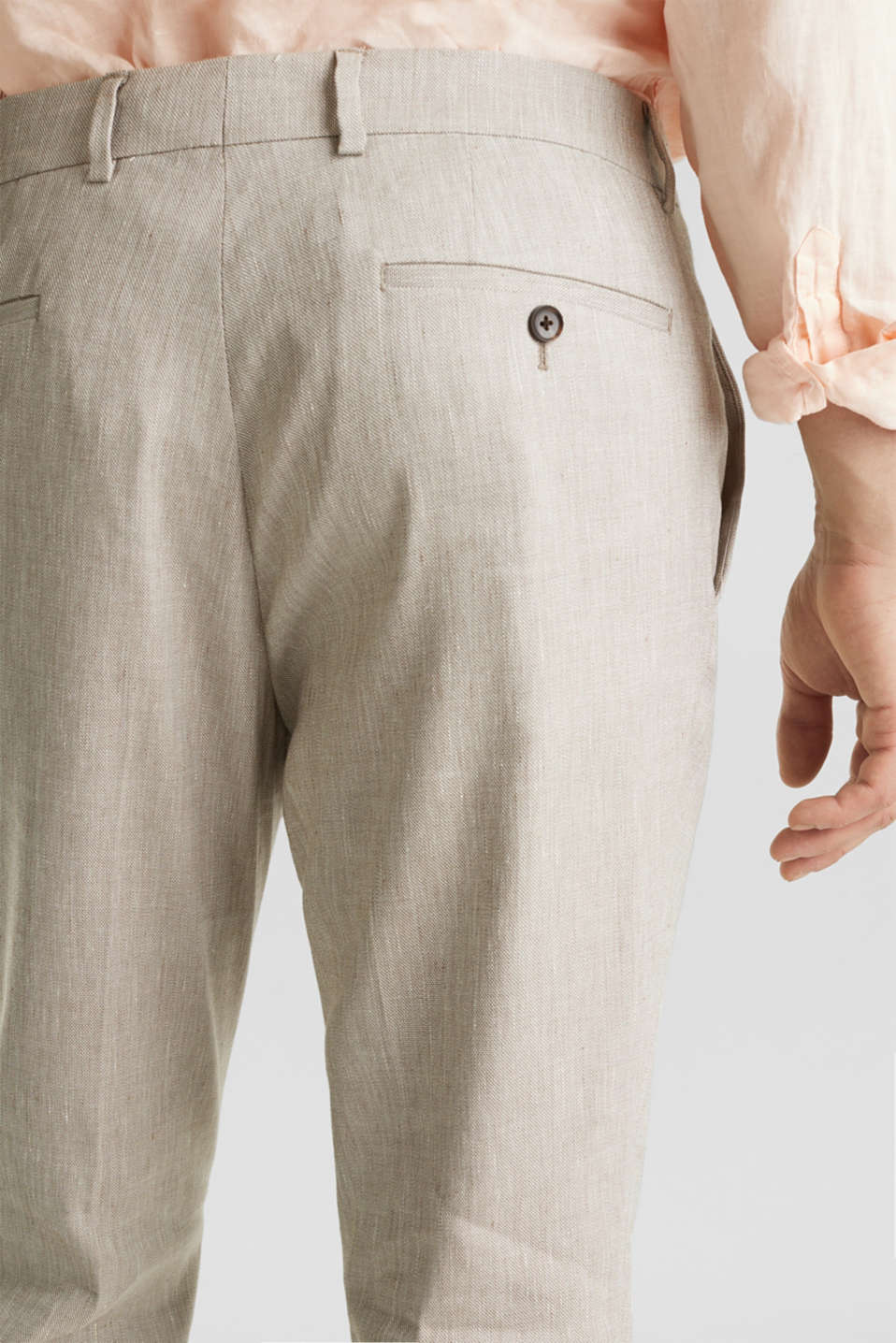 End-on-end linen blend trousers, SAND 5, detail image number 3