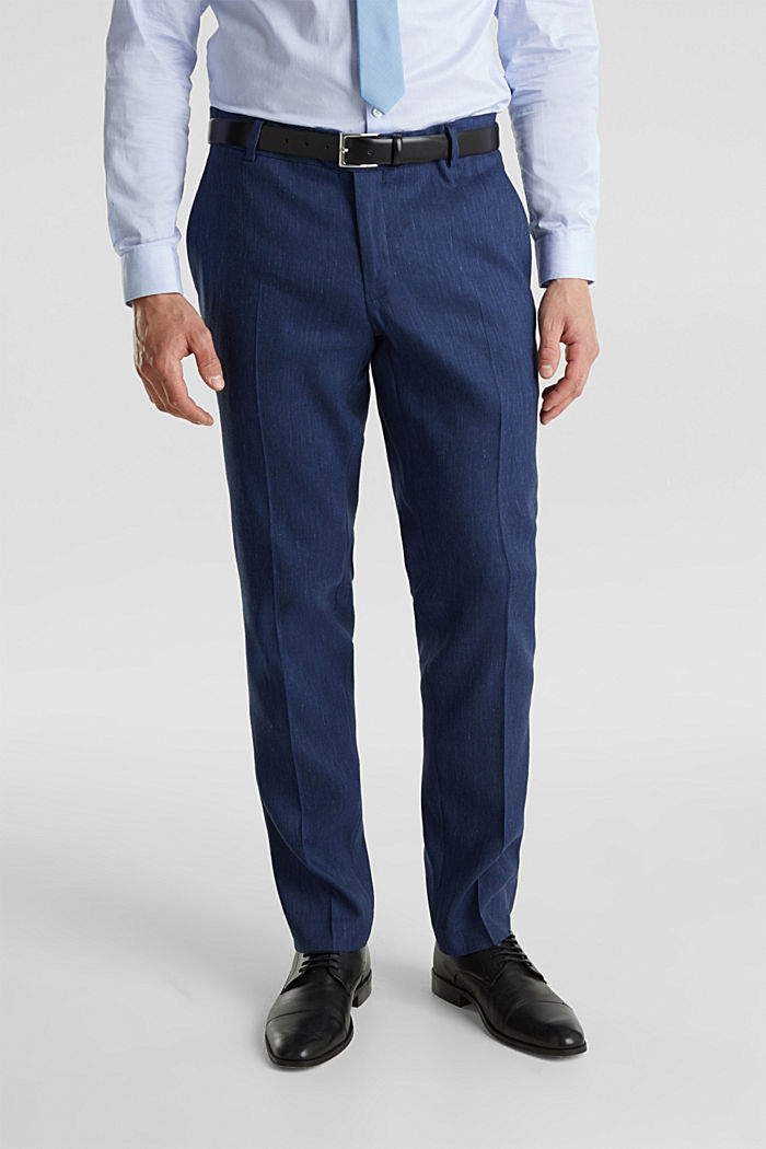 End-on-end linen blend trousers, DARK BLUE, overview