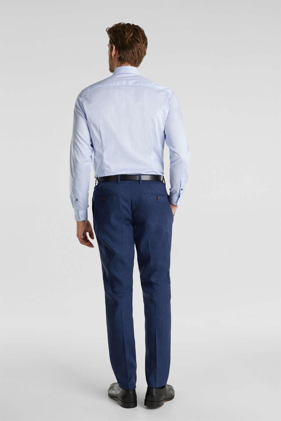 End-on-end linen blend trousers, DARK BLUE 5, detail image number 1