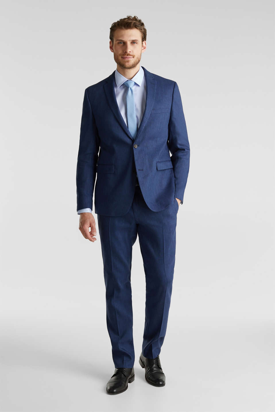 End-on-end linen blend trousers, DARK BLUE 5, detail image number 2