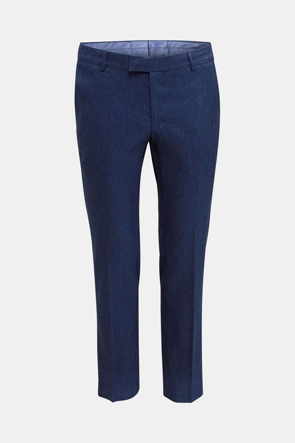 End-on-end linen blend trousers, DARK BLUE 5, detail image number 5