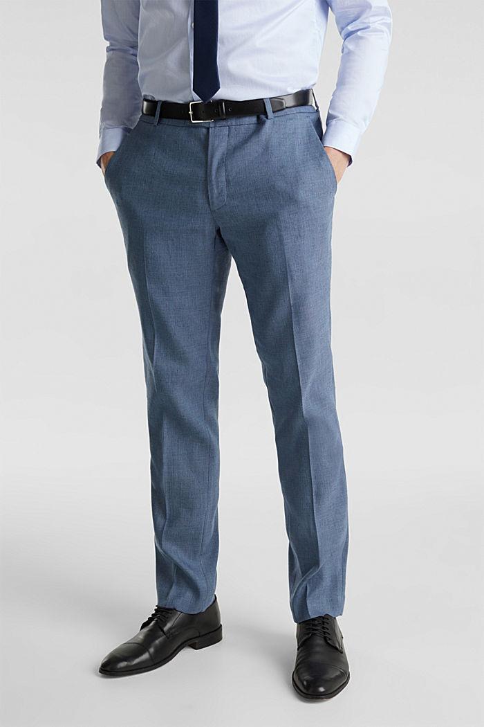 End-on-end linen blend trousers, BLUE, detail image number 0