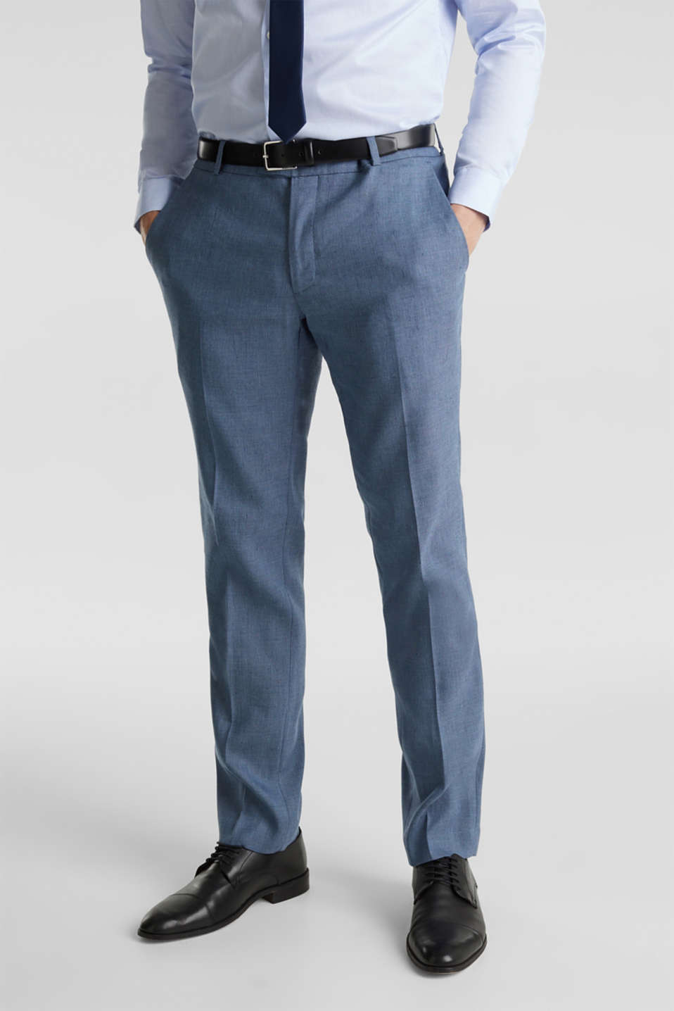 Esprit - End-on-end linen blend trousers