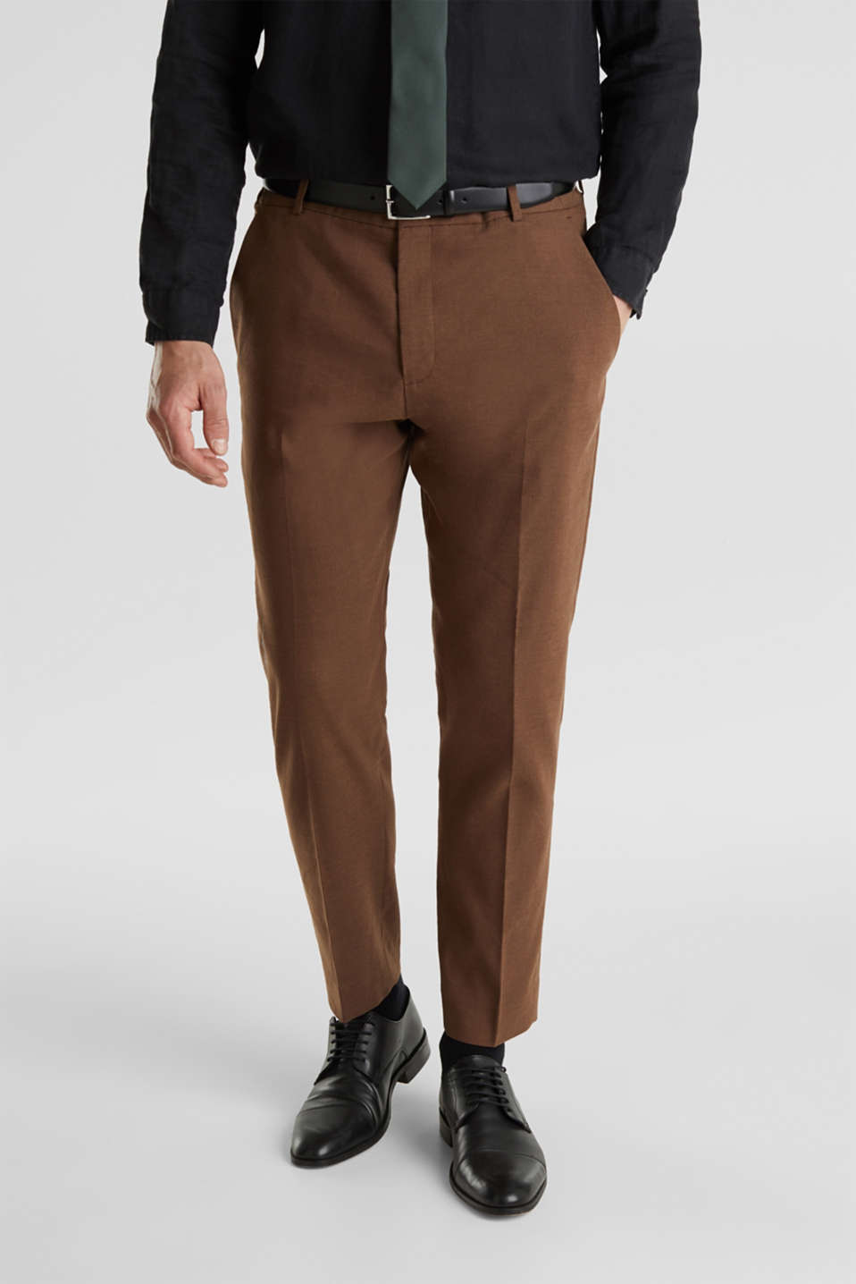 LINEN made of blended linen: mix + match trousers, BROWN, detail image number 0
