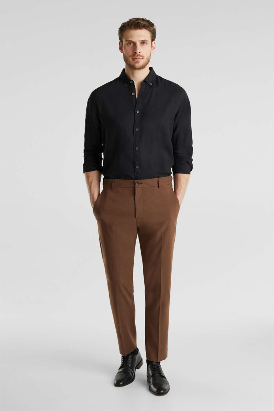 LINEN made of blended linen: mix + match trousers, BROWN, detail image number 4
