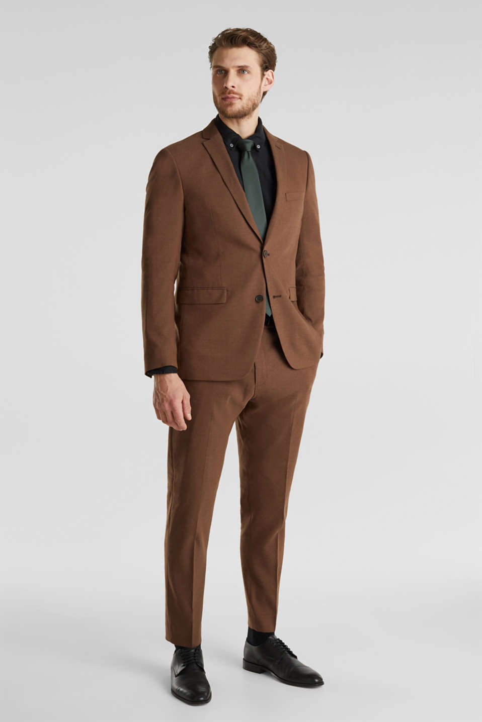 LINEN made of blended linen: mix + match trousers, BROWN, detail image number 2
