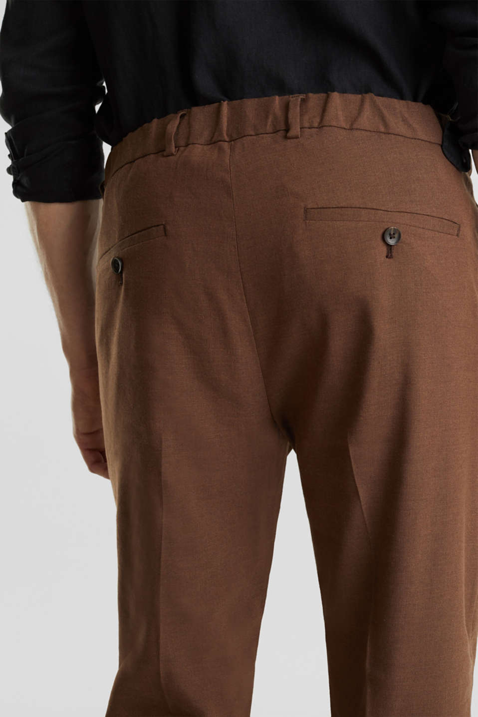 LINEN made of blended linen: mix + match trousers, BROWN, detail image number 3