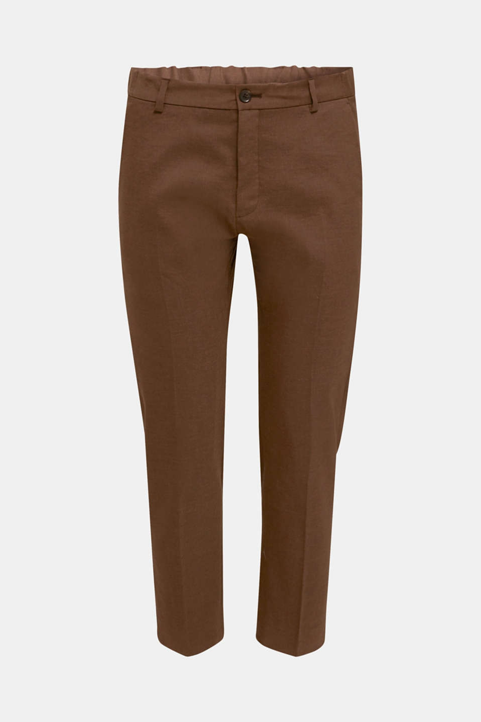 LINEN made of blended linen: mix + match trousers, BROWN, detail image number 6