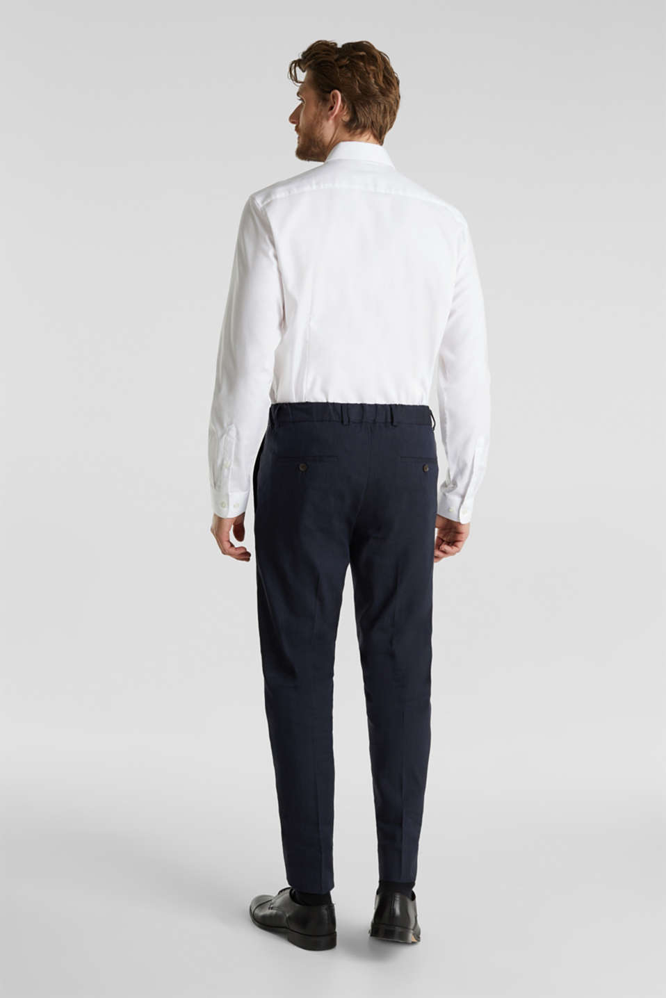 LINEN made of blended linen: mix + match trousers, DARK BLUE, detail image number 1