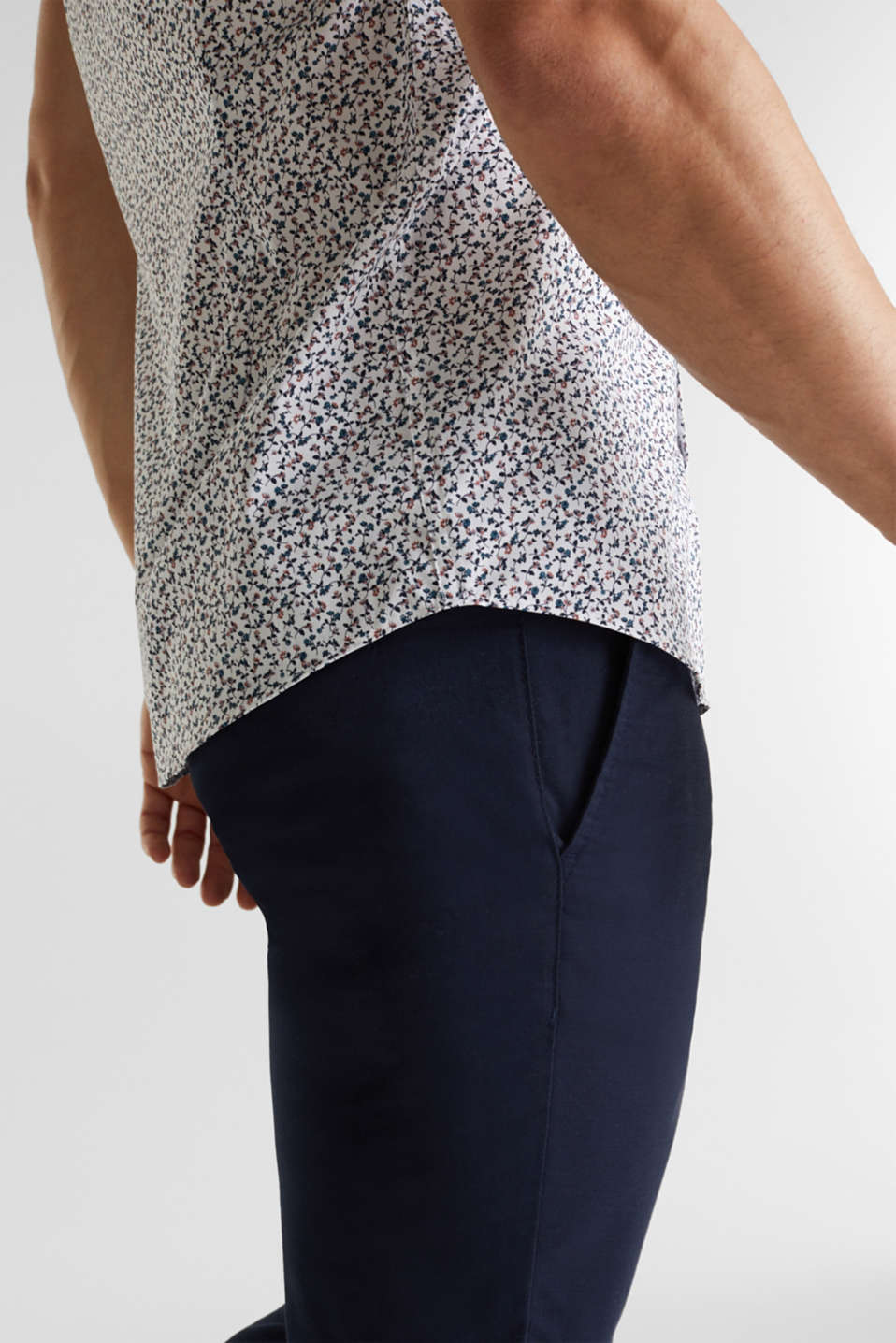 Shirt with mechanical stretch, 100% cotton, WHITE 5, detail image number 5