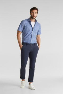 Shirt with mechanical stretch, 100% cotton, DARK BLUE 5, detail