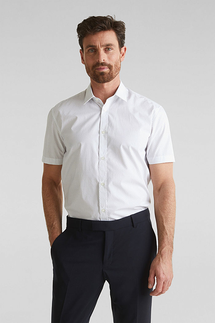 Shirt with mechanical stretch, 100% cotton, WHITE, detail image number 0