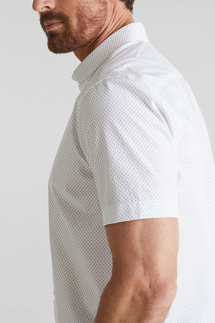 Shirt with mechanical stretch, 100% cotton, WHITE, detail image number 5