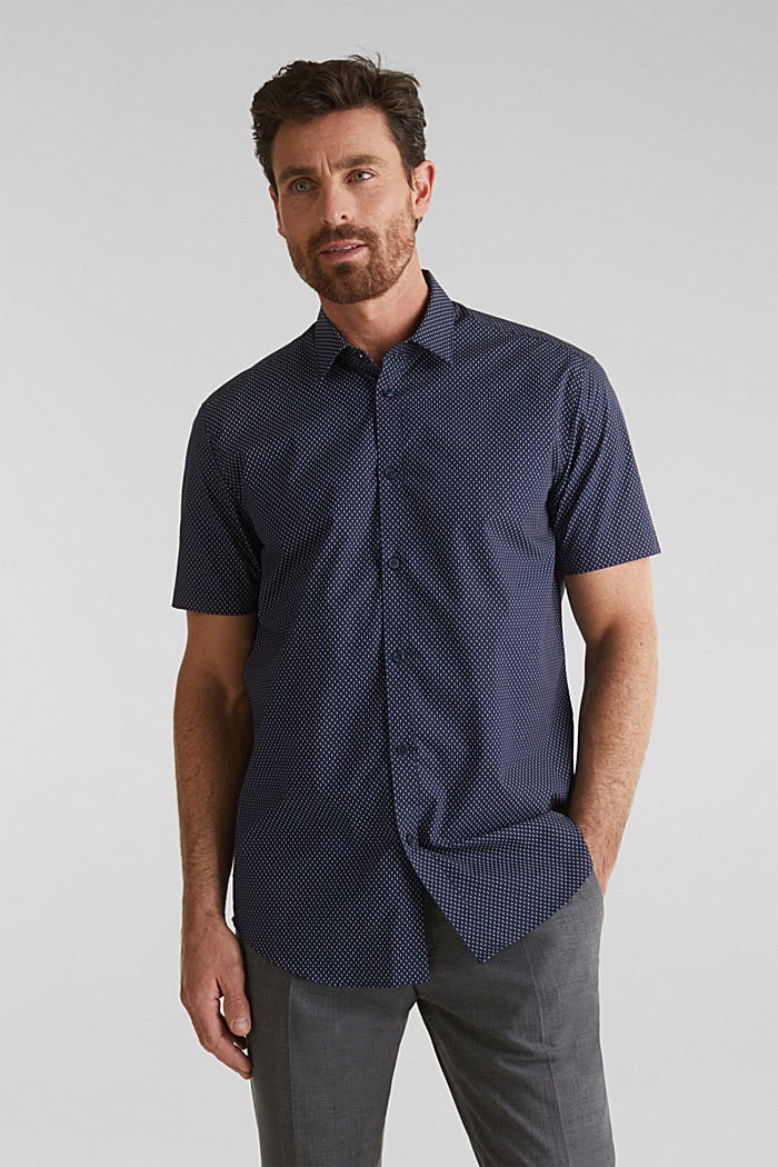 Shirt with mechanical stretch, 100% cotton, NAVY, detail image number 0