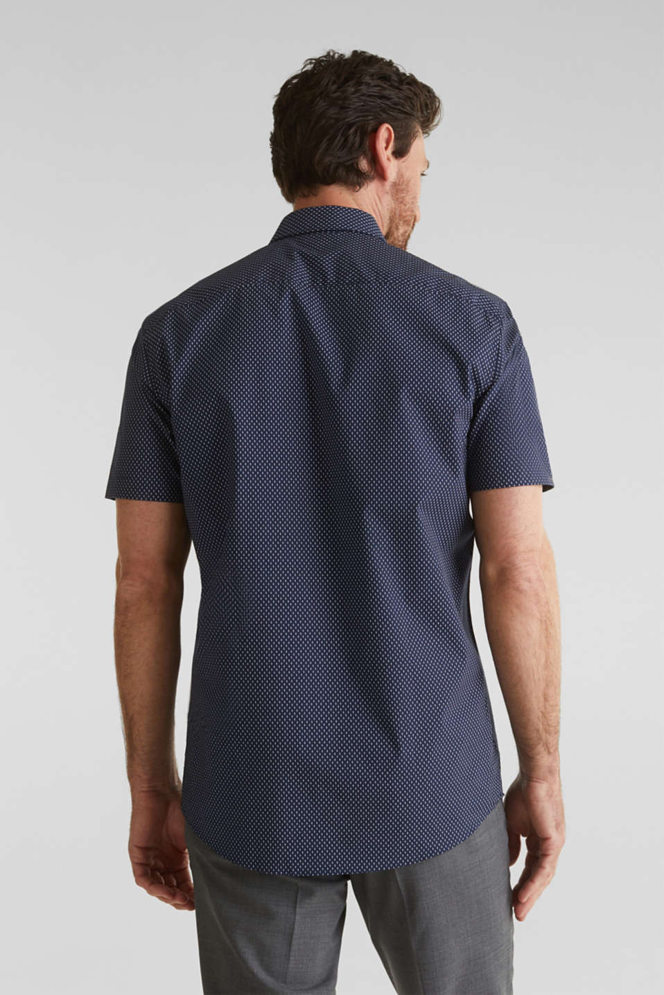 Shirt with mechanical stretch, 100% cotton, NAVY 4, detail image number 3