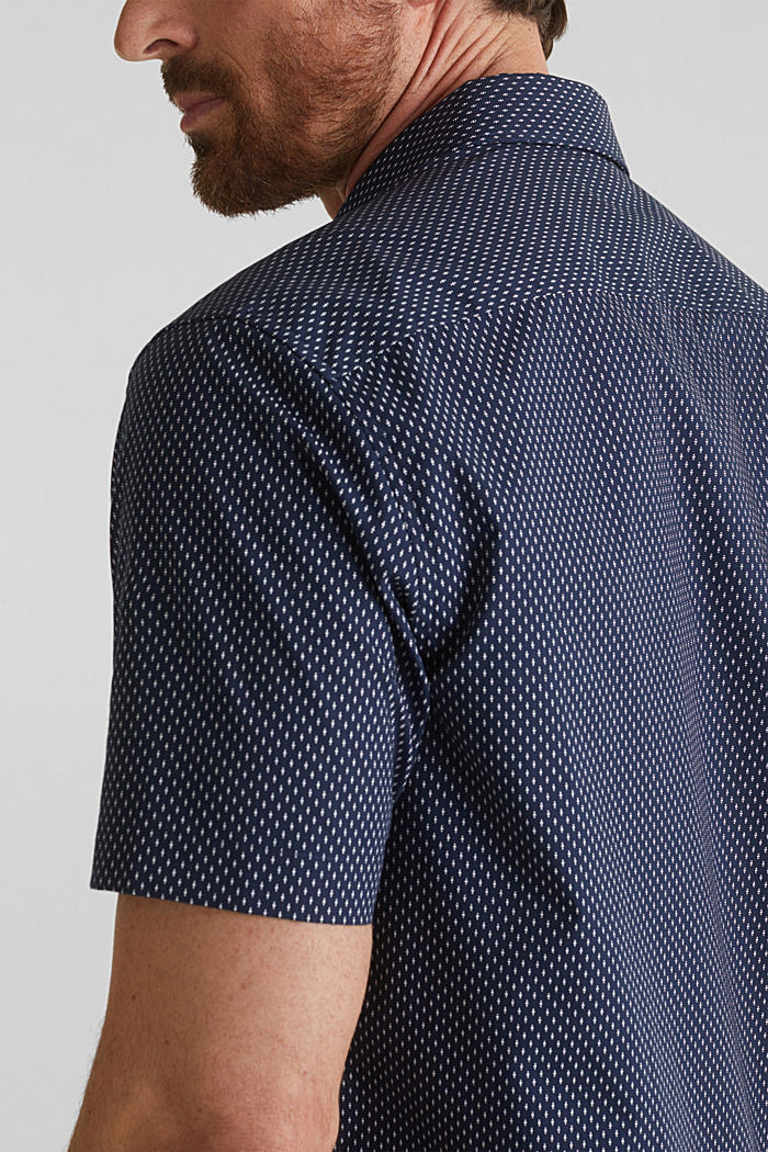 Shirt with mechanical stretch, 100% cotton, NAVY, detail image number 5