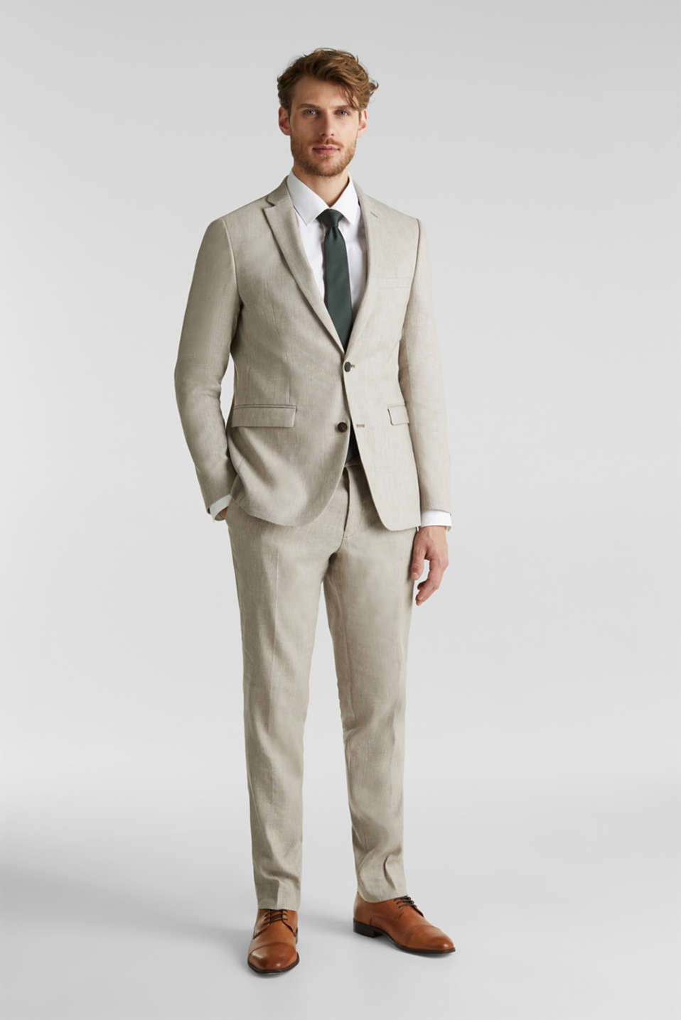 End-on-end linen blend jacket, SAND 5, detail image number 1