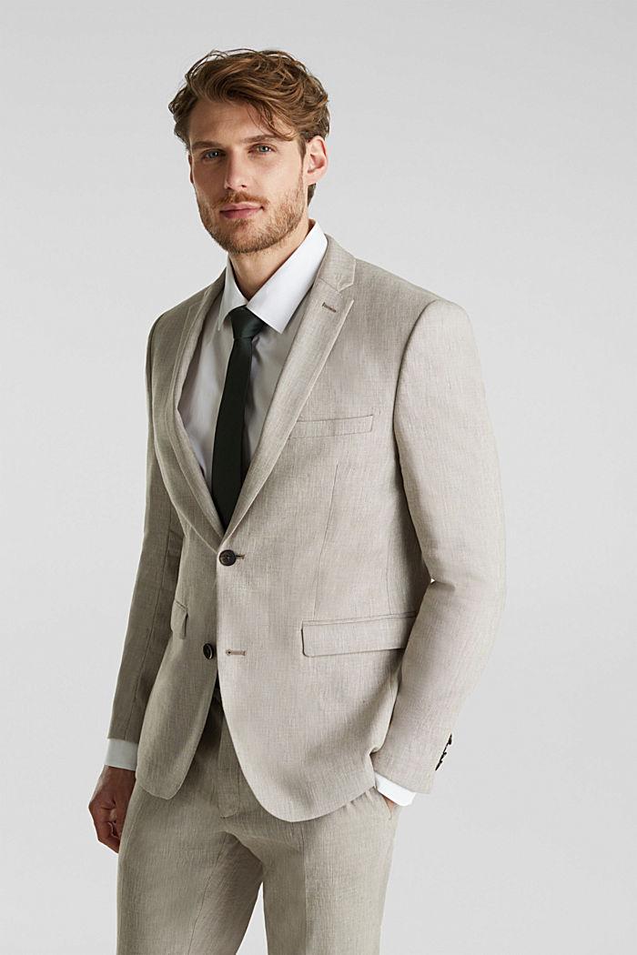 End-on-end linen blend jacket, SAND, detail image number 5