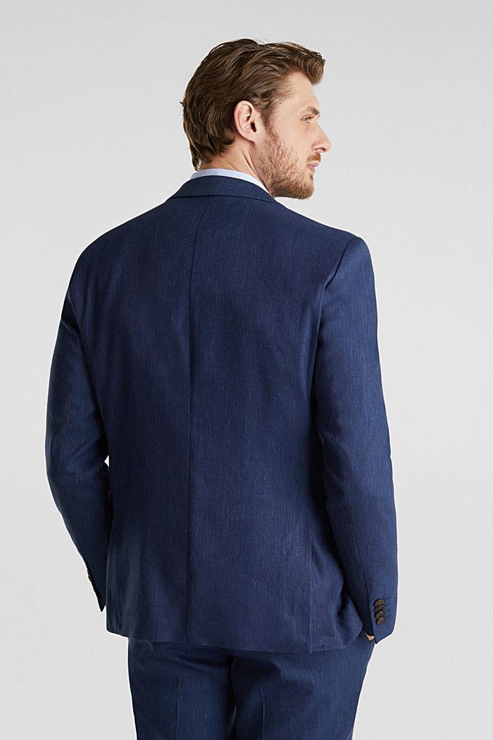 End-on-end linen blend jacket, DARK BLUE, detail image number 3