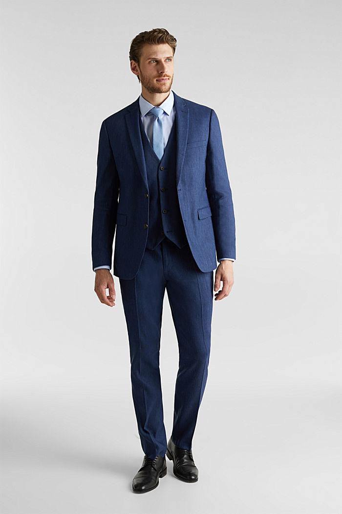 End-on-end linen blend jacket, DARK BLUE, detail image number 1