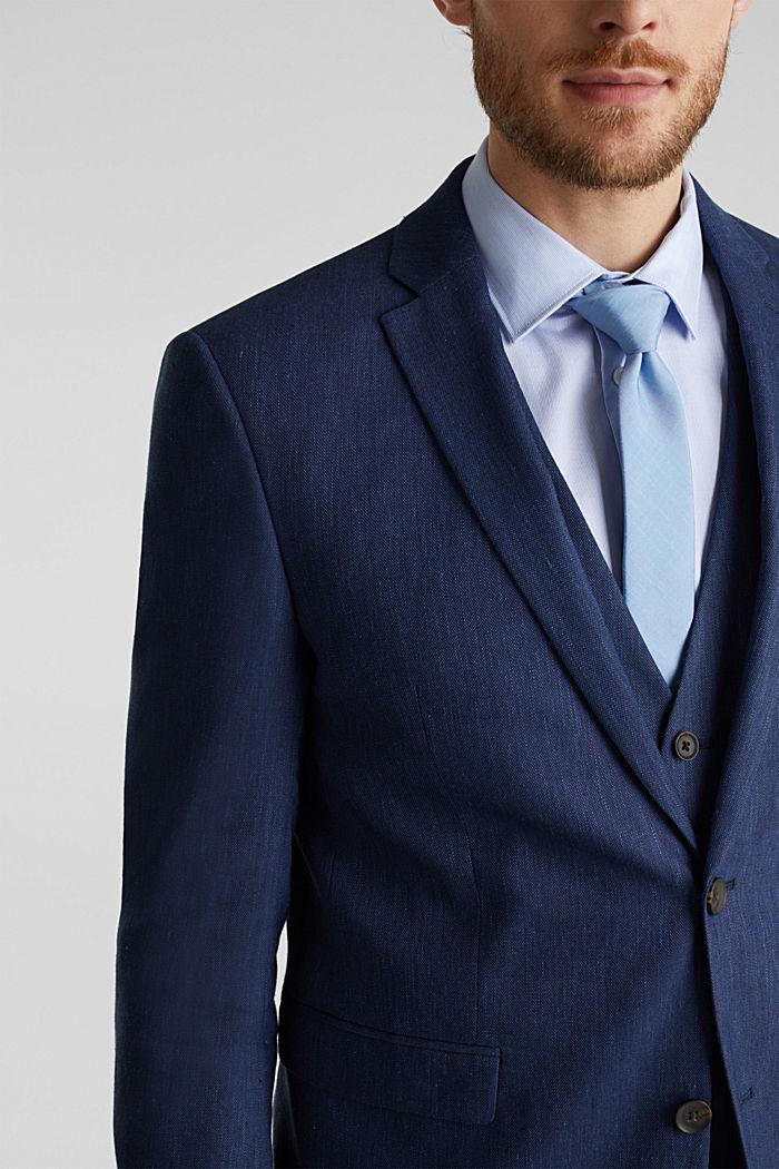 End-on-end linen blend jacket, DARK BLUE, detail image number 2