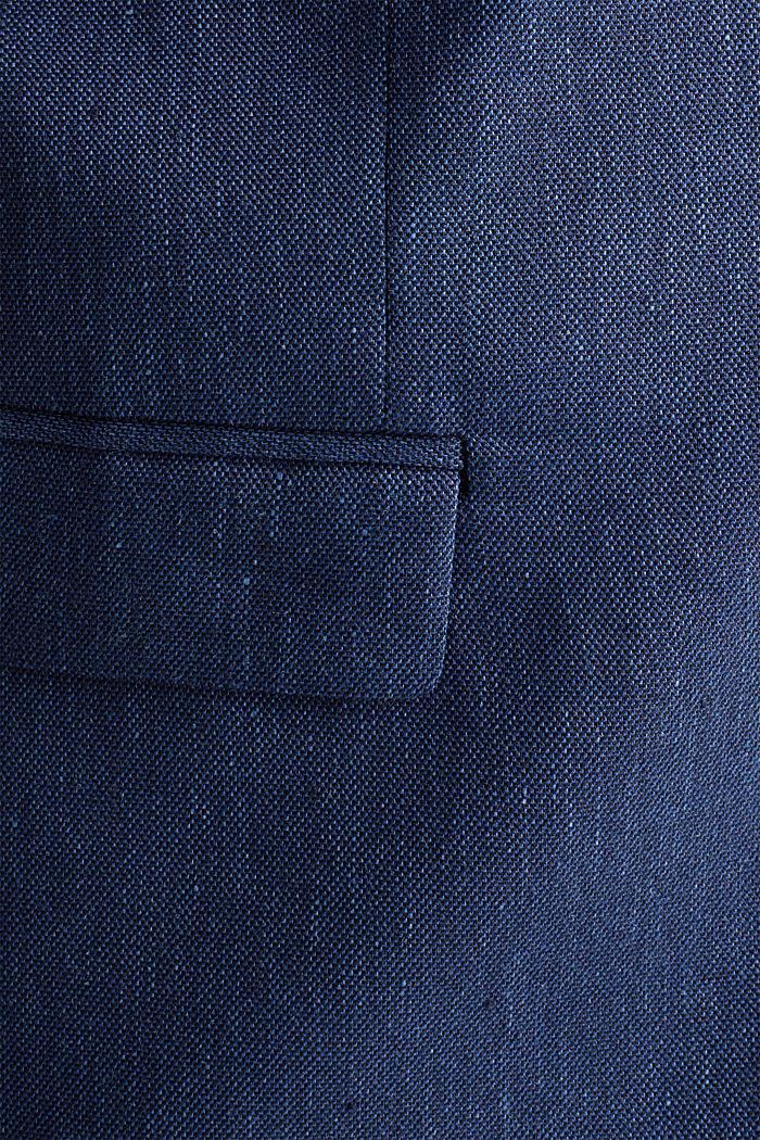 End-on-end linen blend jacket, DARK BLUE, detail image number 4