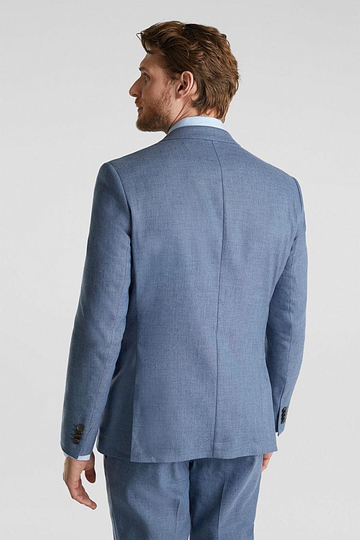Fil-à-fil van een linnenmix: colbert, BLUE, detail image number 3