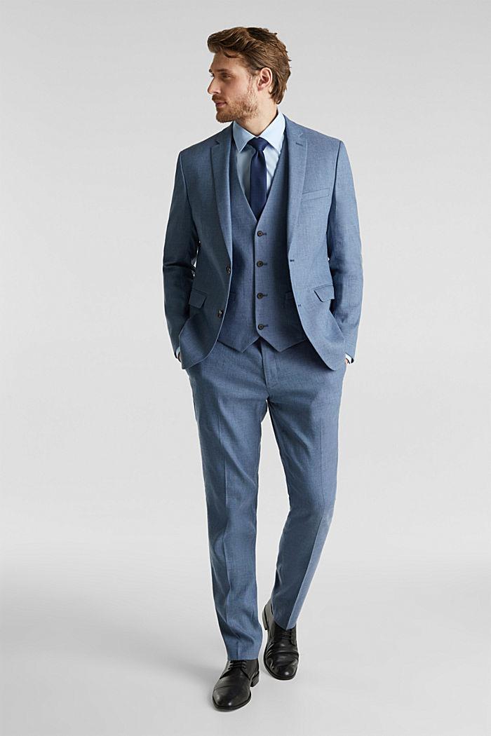 End-on-end linen blend jacket, BLUE, detail image number 1