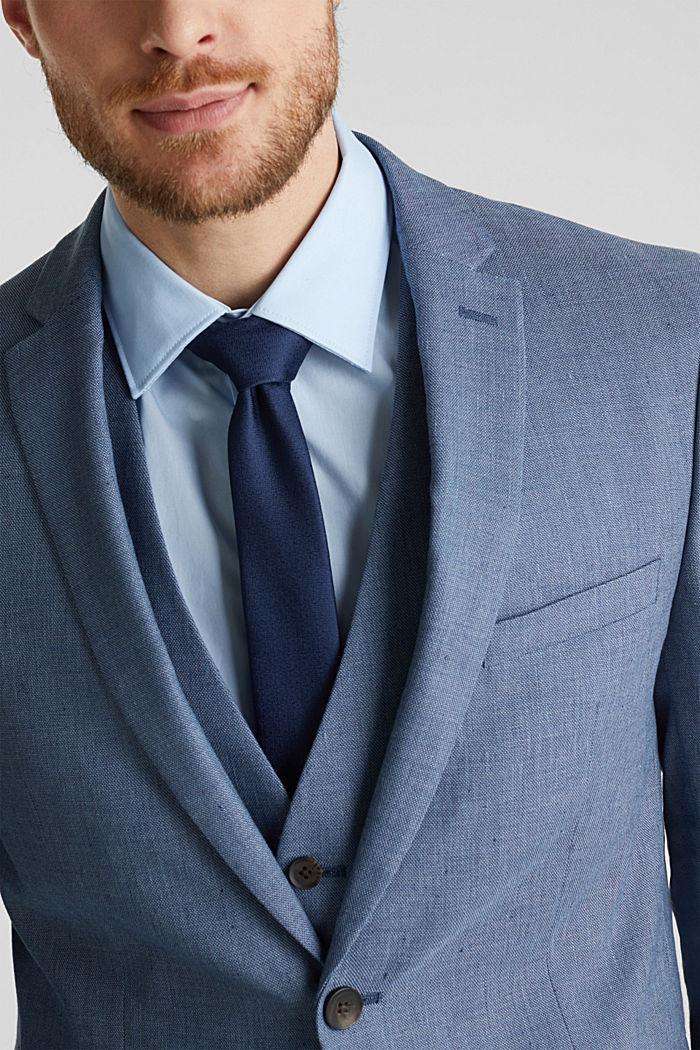 Fil-à-fil van een linnenmix: colbert, BLUE, detail image number 2
