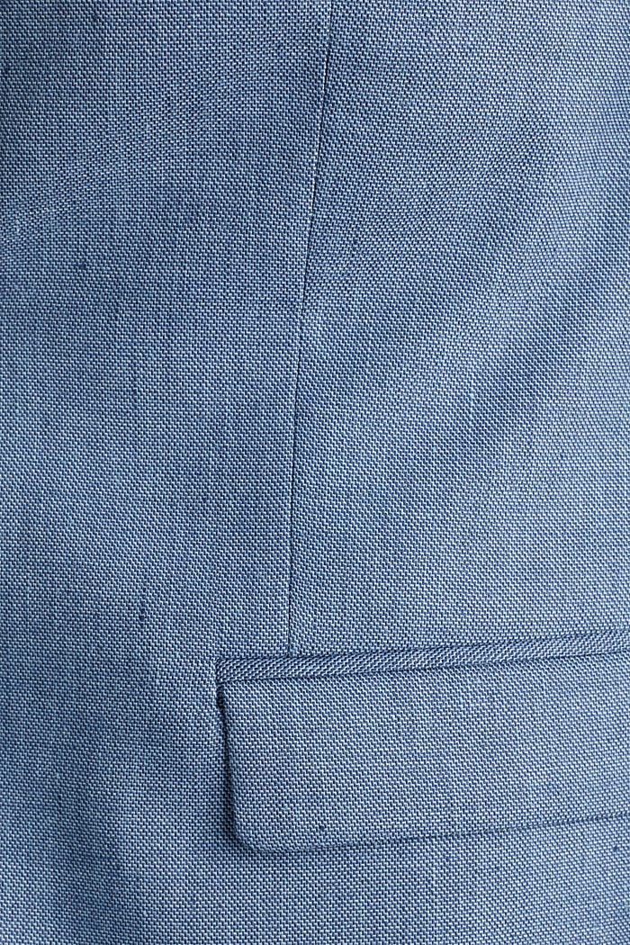 Fil-à-fil van een linnenmix: colbert, BLUE, detail image number 4
