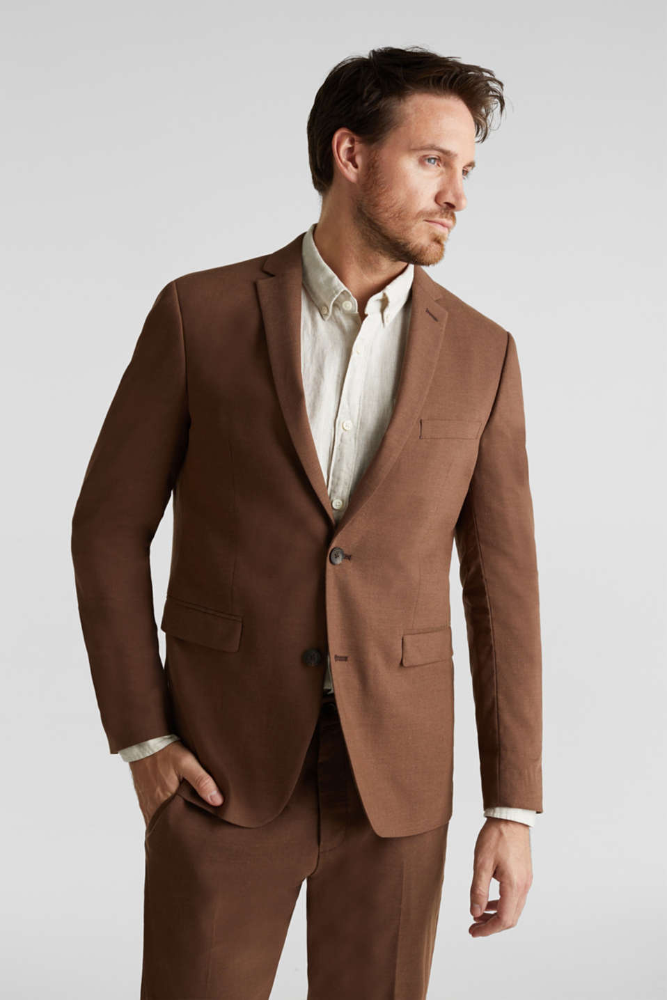 LINEN made of blended linen: mix + match tailored jacket, BROWN, detail image number 0