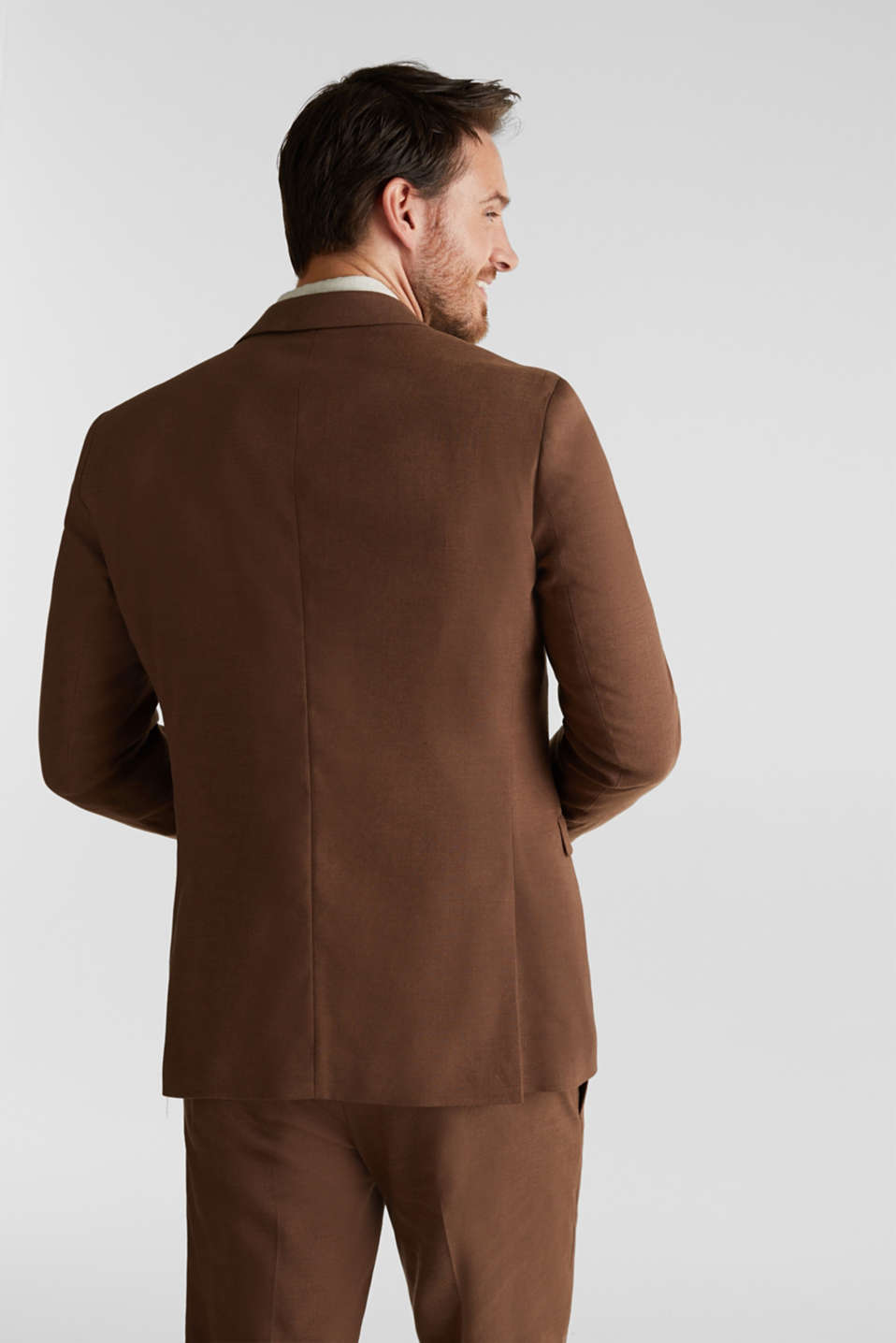 LINEN made of blended linen: mix + match tailored jacket, BROWN, detail image number 3