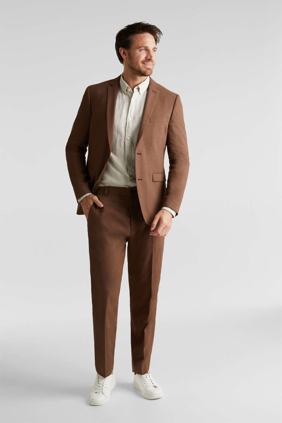 LINEN made of blended linen: mix + match tailored jacket, BROWN, detail image number 1