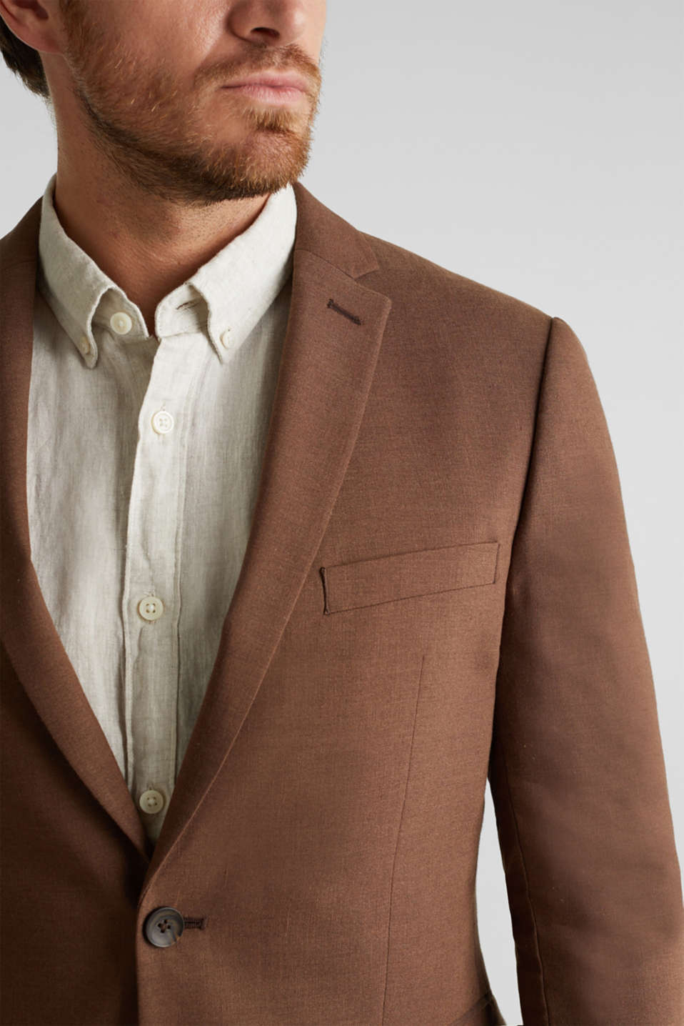 LINEN made of blended linen: mix + match tailored jacket, BROWN, detail image number 2