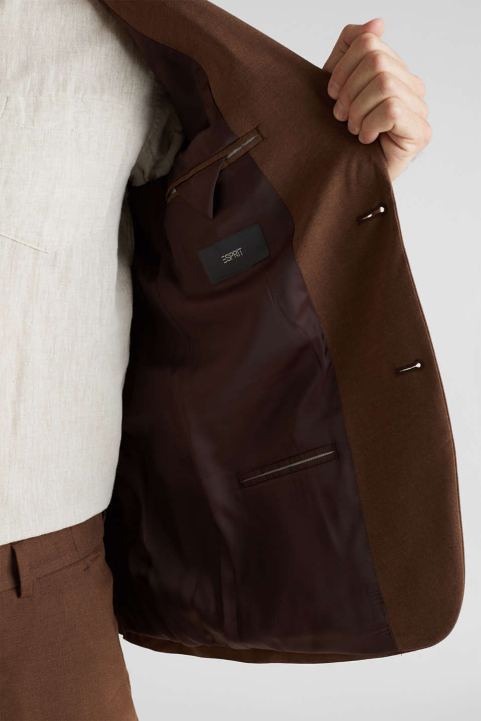 LINEN made of blended linen: mix + match tailored jacket, BROWN, detail image number 6