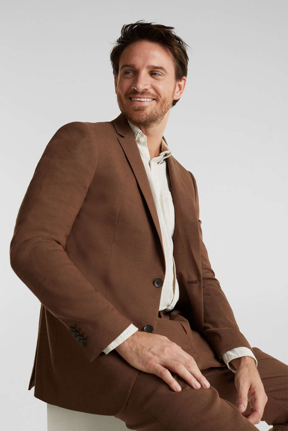 LINEN made of blended linen: mix + match tailored jacket, BROWN, detail image number 5