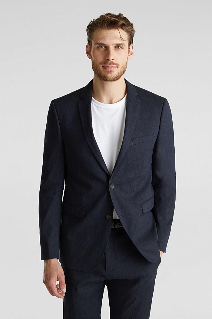 LINEN made of blended linen: mix + match tailored jacket, DARK BLUE, detail image number 0