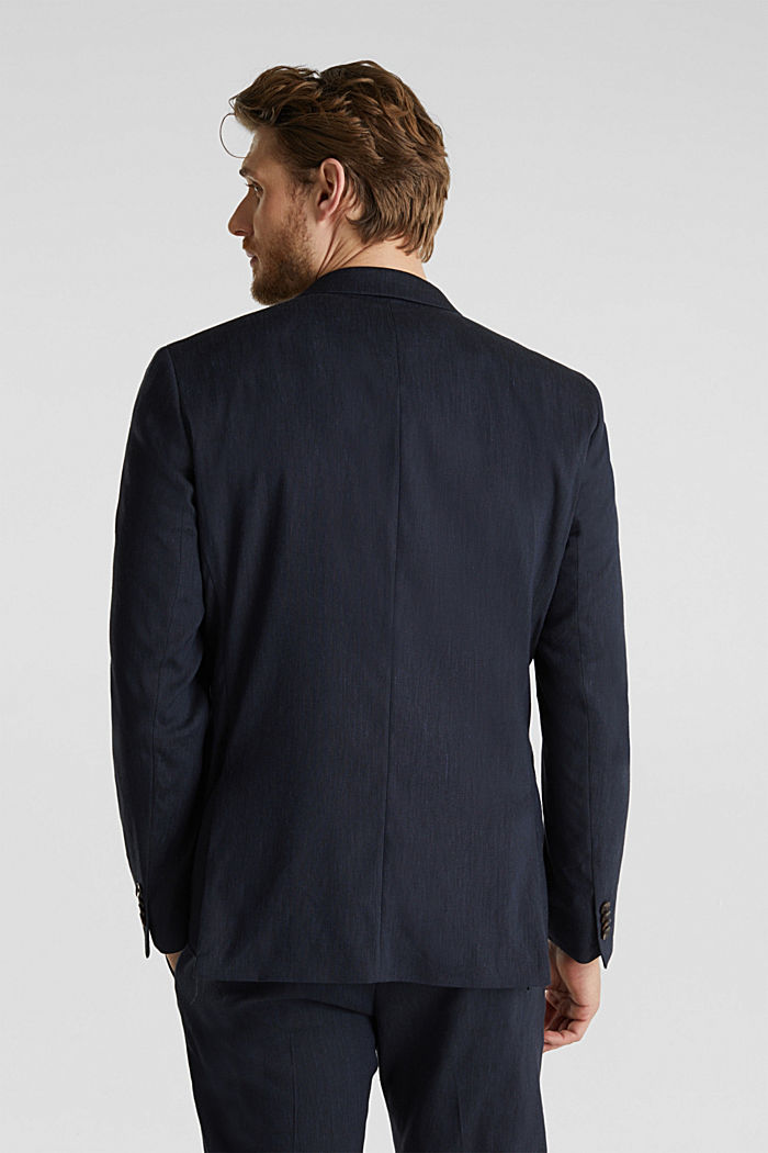 LINEN made of blended linen: mix + match tailored jacket, DARK BLUE, detail image number 3