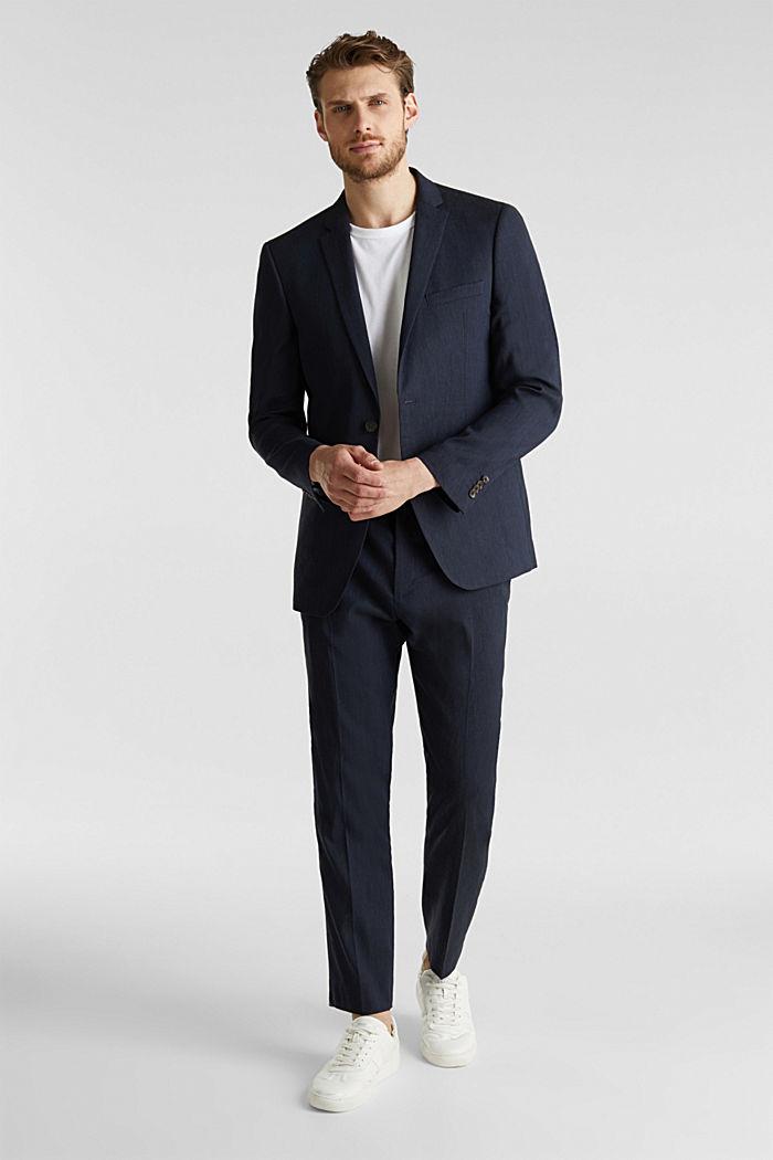 LINEN made of blended linen: mix + match tailored jacket, DARK BLUE, detail image number 1