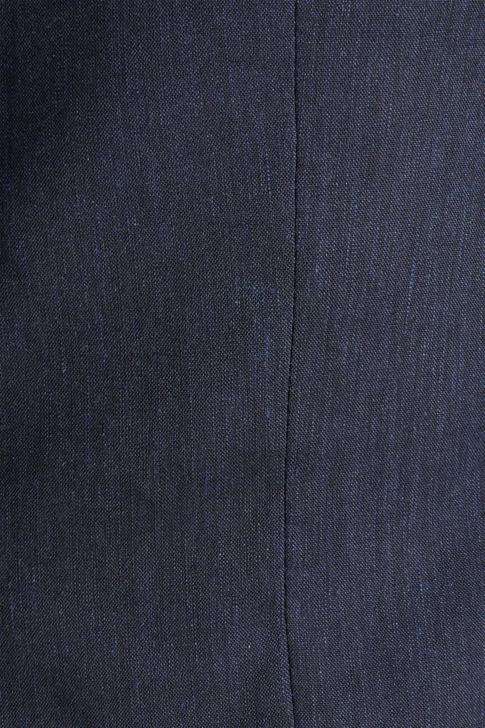 LINEN made of blended linen: mix + match tailored jacket, DARK BLUE, detail image number 4