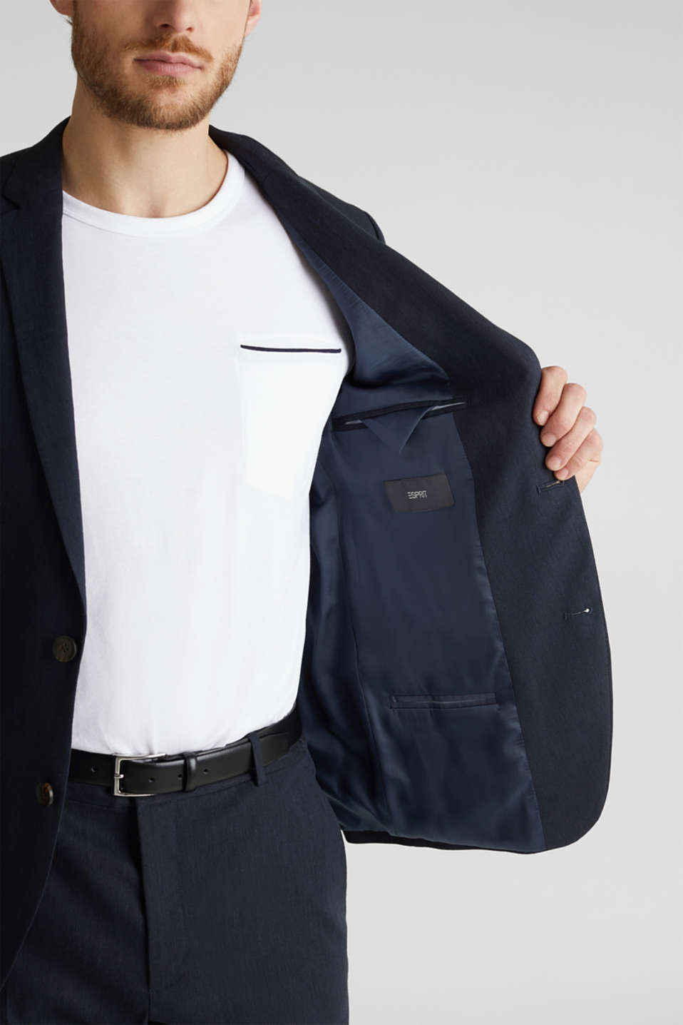 LINEN made of blended linen: mix + match tailored jacket, DARK BLUE, detail image number 5