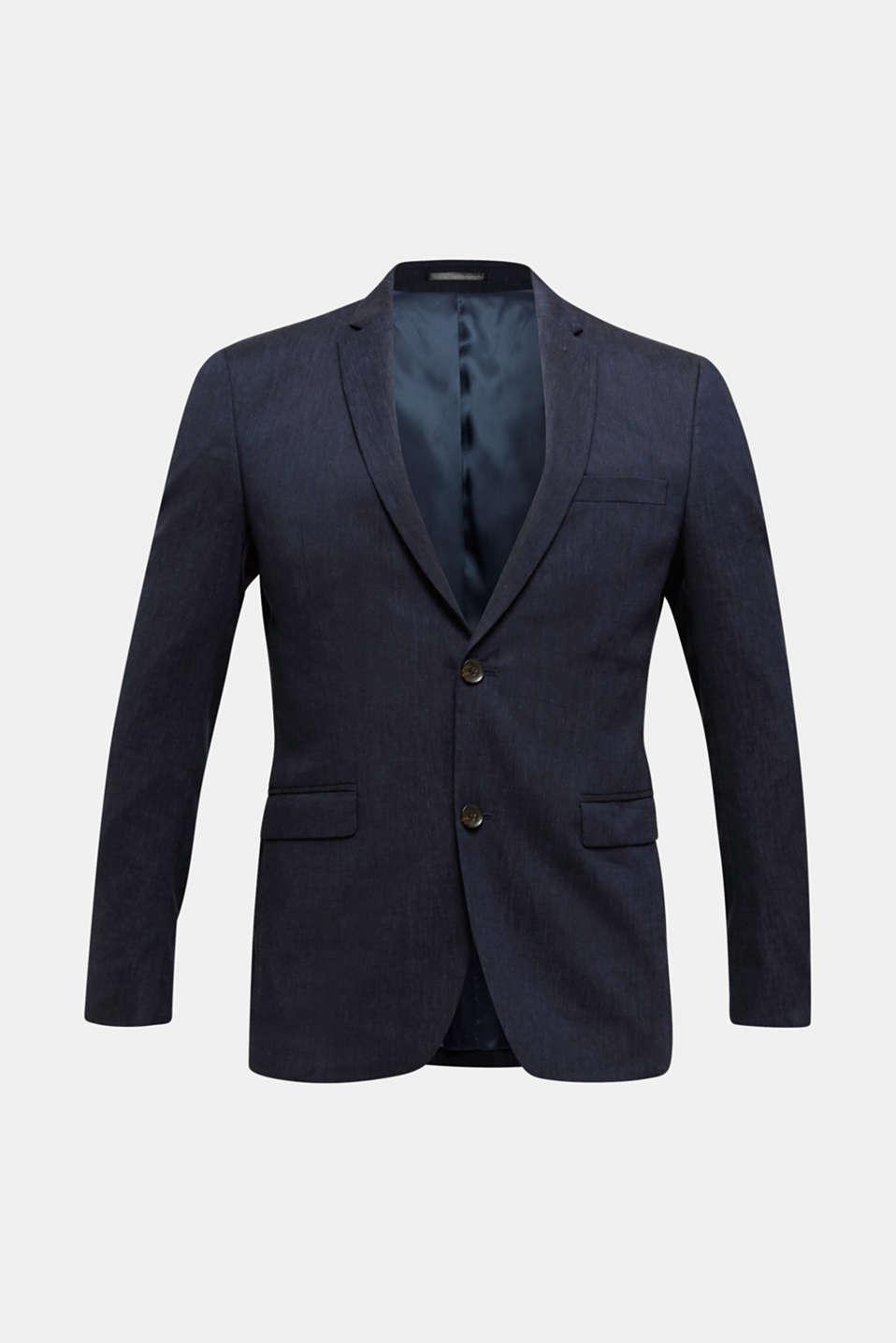 LINEN made of blended linen: mix + match tailored jacket, DARK BLUE, detail image number 6
