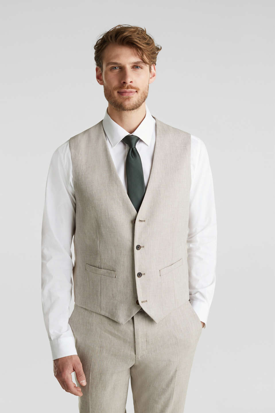 Waistcoat with end-on-end blended linen, SAND 5, detail image number 0